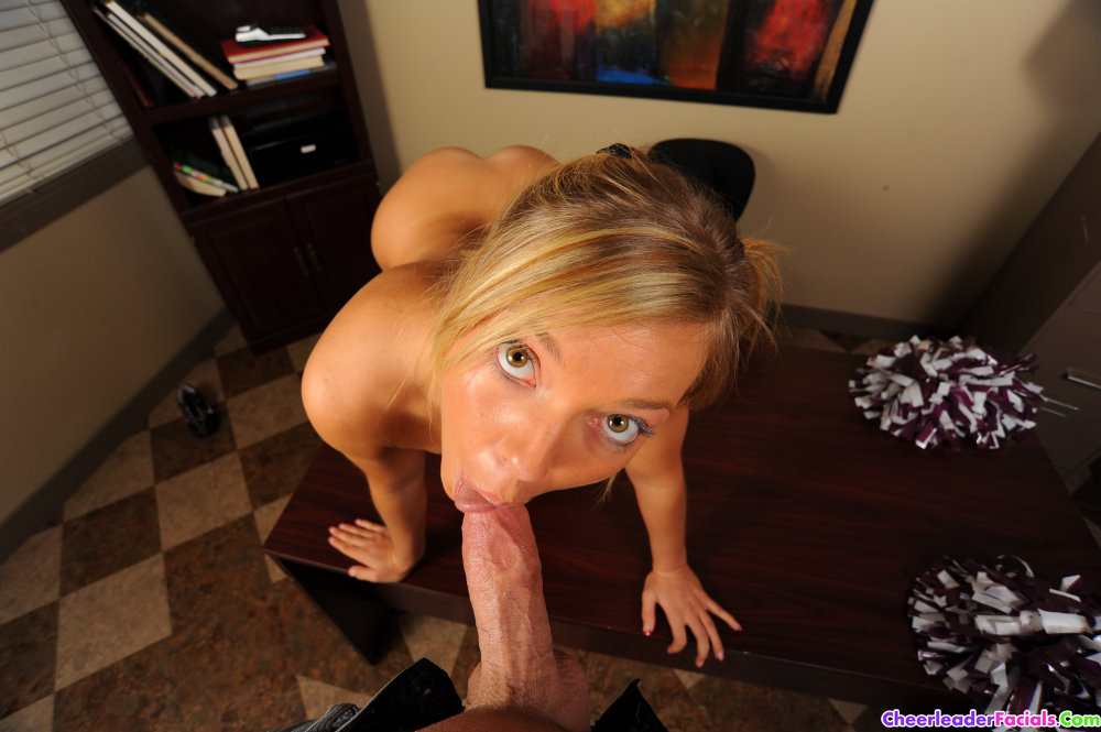 Adorable cheerleader Ally Kay gets fucked on the principals table